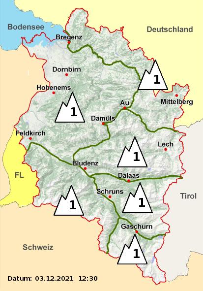Vorarlberg Lawinenwarnkarte